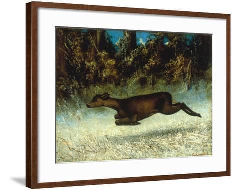 Jumping Deer-Gustave Courbet-Framed Art Print