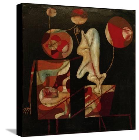 Marionetten (Bunt auf Schwarz) (Marionettes (Colour on Black)), 1930-Paul Klee-Stretched Canvas Print