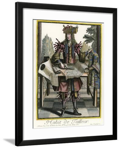 Habit de Tailleur (Fantasy costume of a Men's Tailor with Attributes of His Trade)-Nicolas II de Larmessin-Framed Art Print