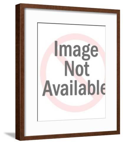 Giraffe on a Blue Background-Pop Ink - CSA Images-Framed Art Print