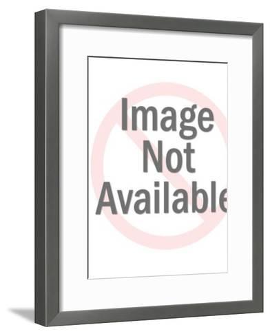 Red and Blue Robot Man Holding Rocket-Pop Ink - CSA Images-Framed Art Print