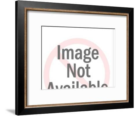 Man and Magnifying Glass on Map-Pop Ink - CSA Images-Framed Art Print