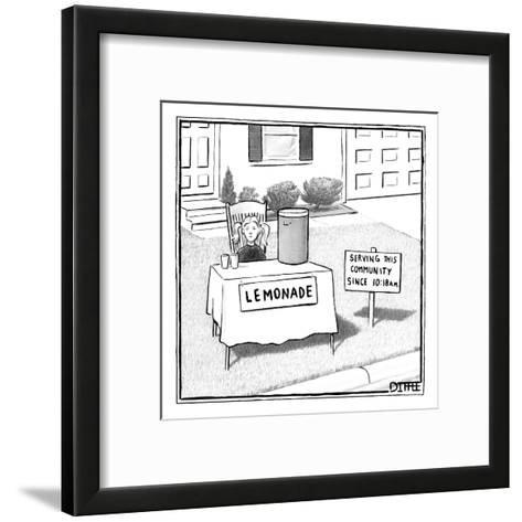 A girl is seen sitting at a lemonade stand next to a house with a sign ind? - New Yorker Cartoon-Matthew Diffee-Framed Art Print