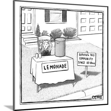 A girl is seen sitting at a lemonade stand next to a house with a sign ind? - New Yorker Cartoon-Matthew Diffee-Mounted Premium Giclee Print