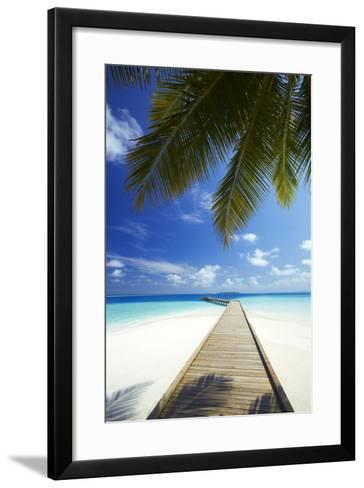 Wooden Jetty Out to Tropical Sea, Maldives, Indian Ocean, Asia-Sakis Papadopoulos-Framed Art Print