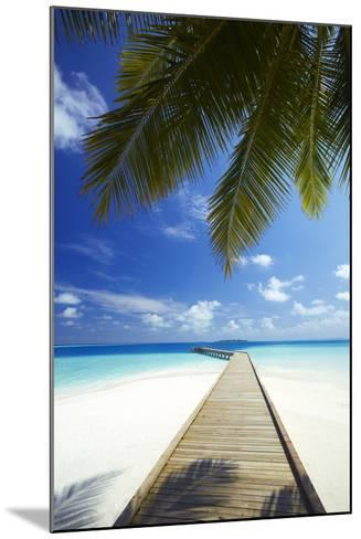Wooden Jetty Out to Tropical Sea, Maldives, Indian Ocean, Asia-Sakis Papadopoulos-Mounted Photographic Print