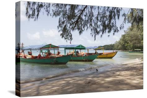 Travel Boats Moored on Bamboo Island, Sihanoukville, Cambodia, Indochina, Southeast Asia, Asia-Charlie Harding-Stretched Canvas Print