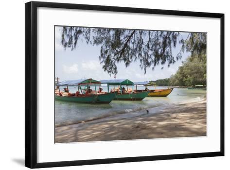 Travel Boats Moored on Bamboo Island, Sihanoukville, Cambodia, Indochina, Southeast Asia, Asia-Charlie Harding-Framed Art Print