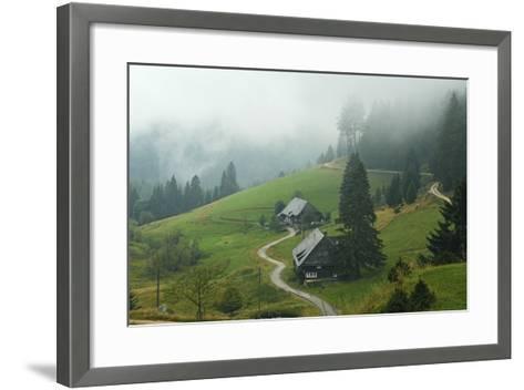 Farmhouses in Fog, Muchenland, Black Forest, Baden-Wurttemberg, Germany, Europe-Jochen Schlenker-Framed Art Print