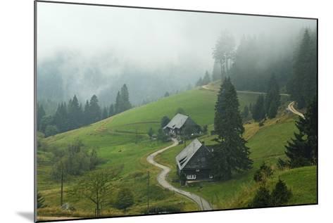 Farmhouses in Fog, Muchenland, Black Forest, Baden-Wurttemberg, Germany, Europe-Jochen Schlenker-Mounted Photographic Print