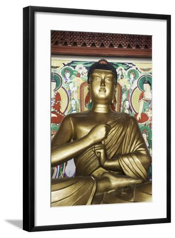 Statue of the Buddha, Pohyon Buddhist Temple, Democratic People's Republic of Korea, N. Korea-Gavin Hellier-Framed Art Print