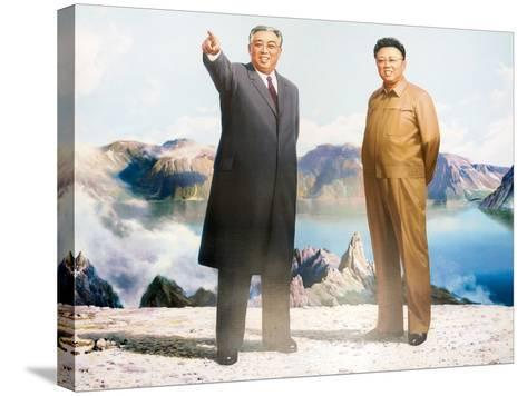 Painting of Kim Jong Il and Kim Il Sung, Pyongyang, Democratic People's Republic of Korea, N. Korea-Gavin Hellier-Stretched Canvas Print