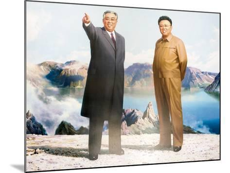 Painting of Kim Jong Il and Kim Il Sung, Pyongyang, Democratic People's Republic of Korea, N. Korea-Gavin Hellier-Mounted Photographic Print