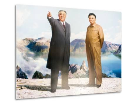 Painting of Kim Jong Il and Kim Il Sung, Pyongyang, Democratic People's Republic of Korea, N. Korea-Gavin Hellier-Metal Print