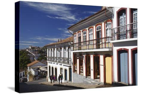 People Walking Along Street, Ouro Preto, UNESCO World Heritage Site, Minas Gerais, Brazil-Ian Trower-Stretched Canvas Print
