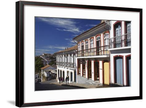 People Walking Along Street, Ouro Preto, UNESCO World Heritage Site, Minas Gerais, Brazil-Ian Trower-Framed Art Print