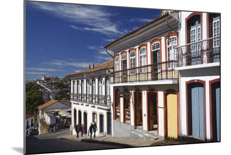 People Walking Along Street, Ouro Preto, UNESCO World Heritage Site, Minas Gerais, Brazil-Ian Trower-Mounted Photographic Print