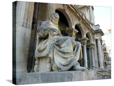 Statue of Playwright Moliere Outside Theatre, Old City, Avignon, Rhone Valley, Provence, France-David Lomax-Stretched Canvas Print