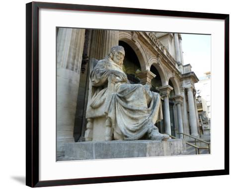 Statue of Playwright Moliere Outside Theatre, Old City, Avignon, Rhone Valley, Provence, France-David Lomax-Framed Art Print