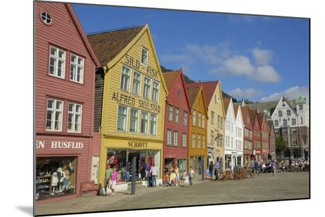 Wooden Buildings on the Waterfront, Bryggen, Vagen Harbour, UNESCO Site, Bergen, Hordaland, Norway-Gary Cook-Mounted Photographic Print