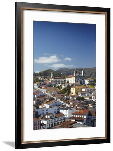 View of Ouro Preto, UNESCO World Heritage Site, Minas Gerais, Brazil, South America-Ian Trower-Framed Art Print