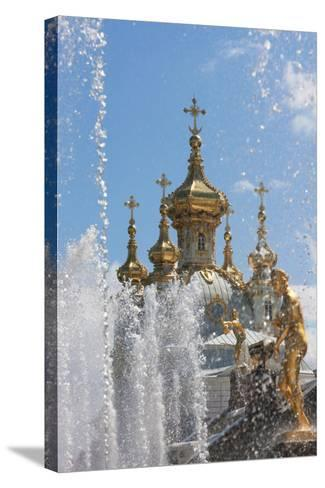 Golden Statues and Fountains of the Grand Cascade at Peterhof Palace, St. Petersburg, Russia-Martin Child-Stretched Canvas Print