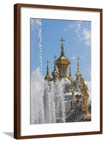 Golden Statues and Fountains of the Grand Cascade at Peterhof Palace, St. Petersburg, Russia-Martin Child-Framed Art Print