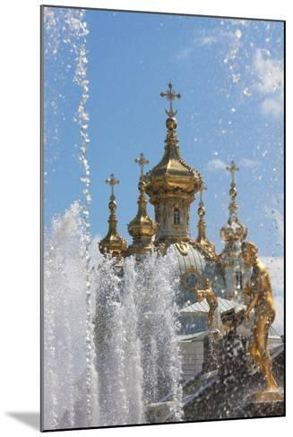 Golden Statues and Fountains of the Grand Cascade at Peterhof Palace, St. Petersburg, Russia-Martin Child-Mounted Photographic Print