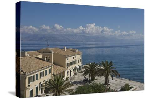Sea View over a Sea Side Cafe from Corfu Town, Corfu Island, Ionian Islands, Greek Islands, Greece-James Emmerson-Stretched Canvas Print