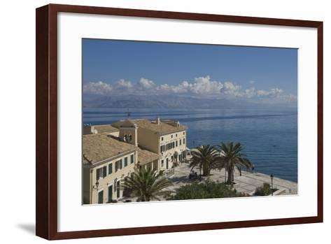 Sea View over a Sea Side Cafe from Corfu Town, Corfu Island, Ionian Islands, Greek Islands, Greece-James Emmerson-Framed Art Print