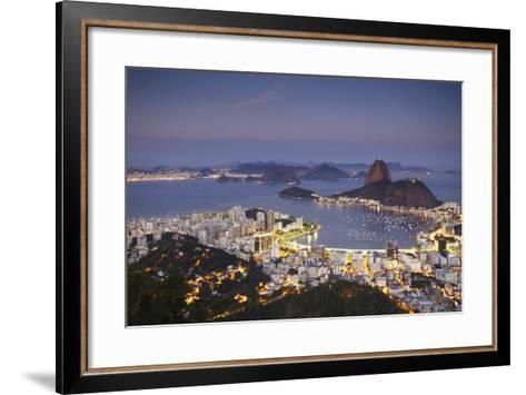 View of Sugar Loaf Mountain (Pao de Acucar) and Botafogo Bay at Dusk, Rio de Janeiro, Brazil-Ian Trower-Framed Art Print