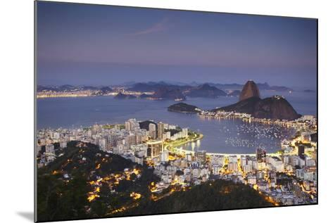 View of Sugar Loaf Mountain (Pao de Acucar) and Botafogo Bay at Dusk, Rio de Janeiro, Brazil-Ian Trower-Mounted Photographic Print