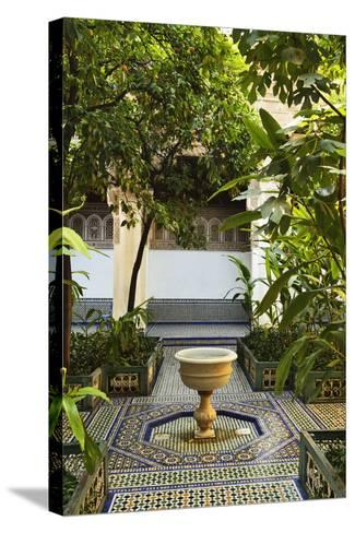 Fountain, Palais de la Bahia, Medina, Marrakesh, Morocco, North Africa, Africa-Jochen Schlenker-Stretched Canvas Print