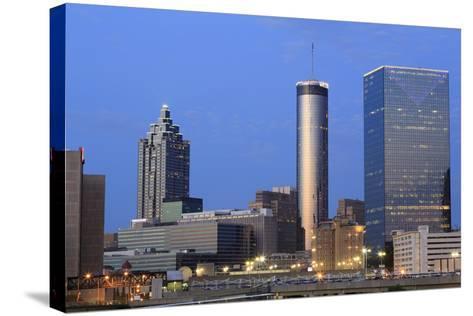 City Skyline at Dusk, Atlanta, Georgia, United States of America, North America-Richard Cummins-Stretched Canvas Print