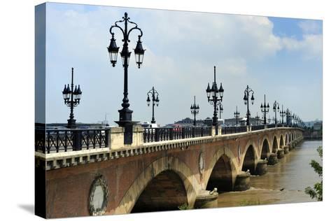 Pont de Pierre on the Garonne River, Bordeaux, UNESCO Site, Gironde, Aquitaine, France-Peter Richardson-Stretched Canvas Print