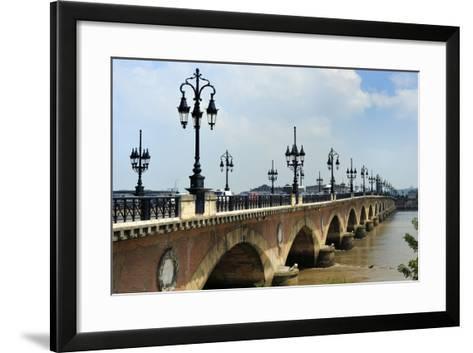 Pont de Pierre on the Garonne River, Bordeaux, UNESCO Site, Gironde, Aquitaine, France-Peter Richardson-Framed Art Print
