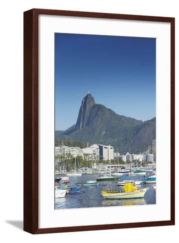 Boats Moored in Harbour with Christ the Redeemer Statue in Background, Urca, Rio de Janeiro, Brazil-Ian Trower-Framed Art Print