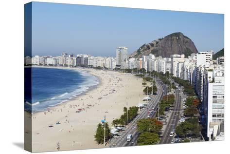 View of Copacabana Beach and Avenida Atlantica, Copacabana, Rio de Janeiro, Brazil, South America-Ian Trower-Stretched Canvas Print