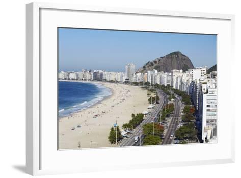 View of Copacabana Beach and Avenida Atlantica, Copacabana, Rio de Janeiro, Brazil, South America-Ian Trower-Framed Art Print