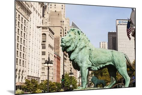 One of Two Iconic Bronze Lion Statues Outside the Art Institute of Chicago, Chicago, Illinois, USA-Amanda Hall-Mounted Photographic Print
