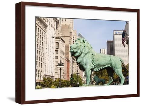 One of Two Iconic Bronze Lion Statues Outside the Art Institute of Chicago, Chicago, Illinois, USA-Amanda Hall-Framed Art Print