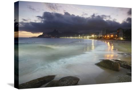 Ipanema Beach at Sunset, Rio de Janeiro, Brazil, South America-Ian Trower-Stretched Canvas Print