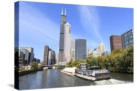 River Traffic on South Branch of Chicago River, Chicago, Illinois, USA-Amanda Hall-Stretched Canvas Print