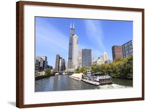River Traffic on South Branch of Chicago River, Chicago, Illinois, USA-Amanda Hall-Framed Art Print