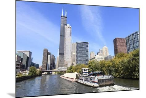 River Traffic on South Branch of Chicago River, Chicago, Illinois, USA-Amanda Hall-Mounted Photographic Print