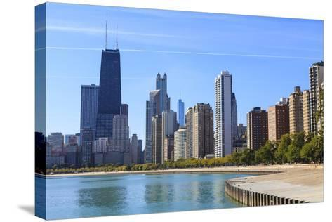 Chicago Cityscape from North Avenue Beach, John Hancock Center on the Left, Chicago, Illinois, USA-Amanda Hall-Stretched Canvas Print