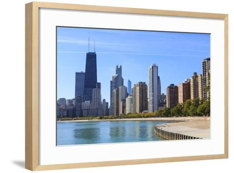 Chicago Cityscape from North Avenue Beach, John Hancock Center on the Left, Chicago, Illinois, USA-Amanda Hall-Framed Art Print