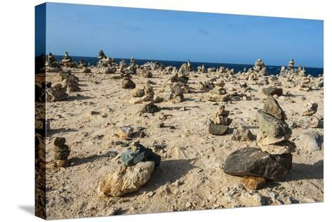 Stone Set Up on Shore, Aruba, ABC Islands, Netherlands Antilles, Caribbean, Central America-Michael Runkel-Stretched Canvas Print