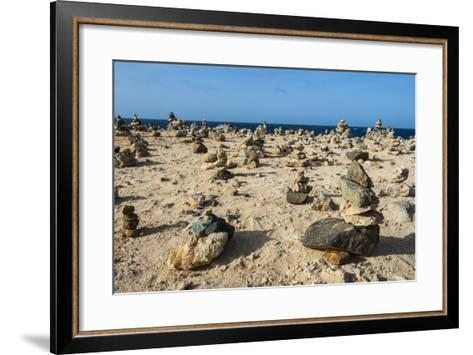 Stone Set Up on Shore, Aruba, ABC Islands, Netherlands Antilles, Caribbean, Central America-Michael Runkel-Framed Art Print
