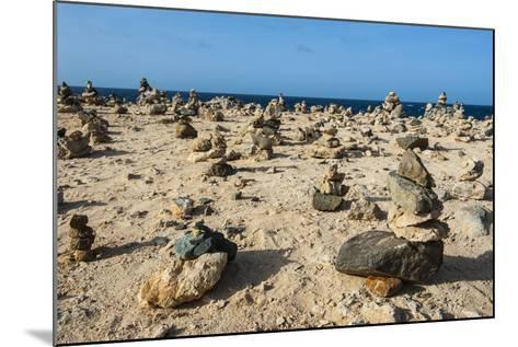 Stone Set Up on Shore, Aruba, ABC Islands, Netherlands Antilles, Caribbean, Central America-Michael Runkel-Mounted Photographic Print